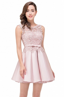 Cheap A-line Knee-length Satin Homecoming Dress with Lace in Stock_8