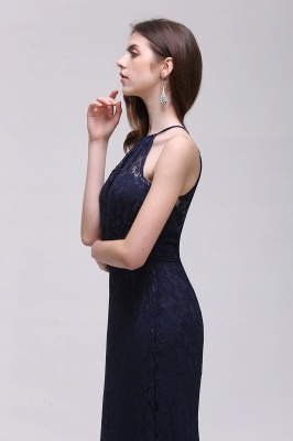 Cheap Pretty Floor length Navy blue Halter Lace Prom Dress in Stock_7