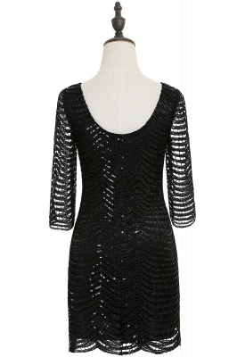Cheap Black Champagne Sheath Long Sleeve Short Cocktailk Dress in Stock_7