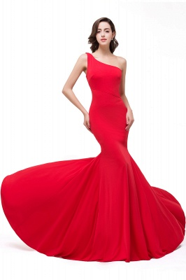Red One-Shoulder Floor Length Mermaid Prom Dress_2