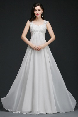 A-Line Sweep Trains Glamorous Wedding Dresses with Lace_4