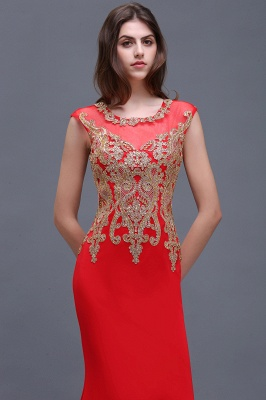 Sheath Round Neck Floor-Length Red Prom Dresses With Applique_5