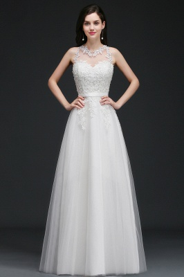 AMARI | A-Line Jewel Floor Length Tulle Wedding Dresses with Lace_1