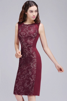 Cheap Cheap Burgungdy Cap Sleeve Lace Mermaid Homecoming Cocktail Party Dress in Stock_3