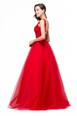 Chic Occasion Sepcial Sheer A-Line Red Evening Dresses_4