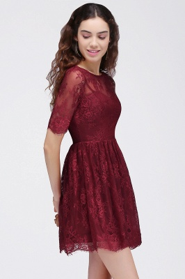 Cheap A-Line Round Neck Short Lace Burgundy Homecoming Dress in Stock_4