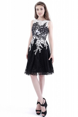 DAHLIA | Short Sheath Sleeveless Black Lace Prom Dresses_1