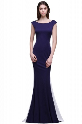 Sheath Scoop Floor-Length Dark Navy Evening Dresses_2