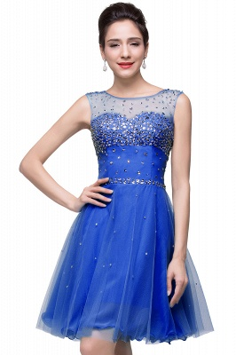 Cheap Open Back Sleeveless Chiffon Homecoming Dress Crystal Beads Tulle Short Prom Dress in Stock_5