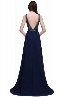 A-line Long Chiffon Dark Navy Vintage Prom Dresses with Rhinestones_3