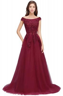 EMBER | A-line Off-shoulder Floor-length Tulle Appliques Prom Dresses_1