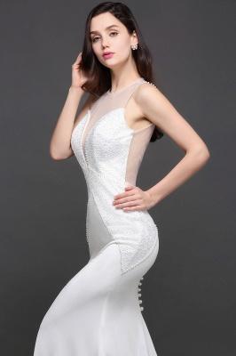 Mermaid Scoop Chiffon White Evening Dress With Beadings_10