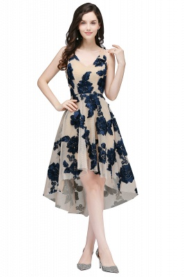 Cheap Short Appliques Tulle V Neck Prom Dress in Stock_3