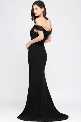 Mermaid Sweep Train Off The Shoulder Black Evening Dresses_4