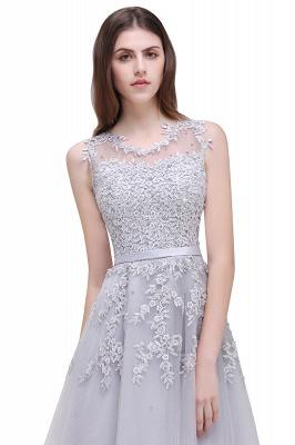 EMORY | Crew Tea Length Lace A-Line Appliques Short Prom Dresses_13