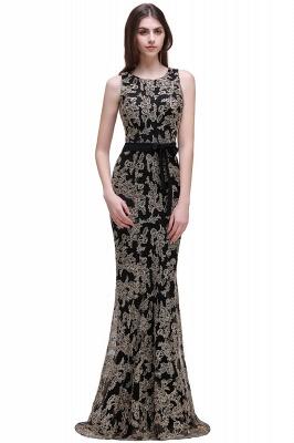 Sheath Round Neck Floor-Length Lace Evening Dresses_1