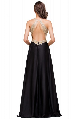 Cheap V-neck Satin Floor-Length A-Line Appliques Backless Prom Dress in Stock_7
