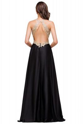EMMALINE | A-Line Floor-Length V-neck Appliques Prom Dresses_8
