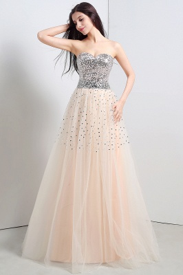 CECELIA   A-line Strapless Tulle Party Dress With  Sequined_5