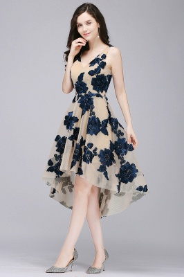 Cheap Short Appliques Tulle V Neck Prom Dress in Stock_5