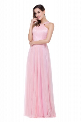 Cheap Sheath Pink Tulle Ribbon Sash Simple Bridesmaid Dress in Stock_5