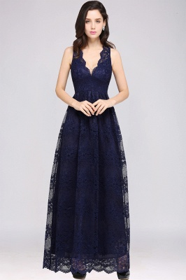 CHAYA | Sheath V-neck Floor-length Navy Blue Lace Prom Dress_10