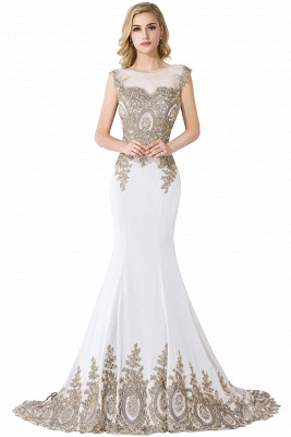 Cheap Mermaid Court Train Chiffon Evening Dress with Appliques in Stock_1