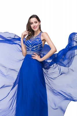 ELLA | A-line Crew Floor-length Sleeveless Tulle Prom Dresses with Crystal Beads_9