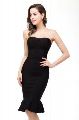 Mermaid Strapless Knee-Length Short Black Prom Dresses_7