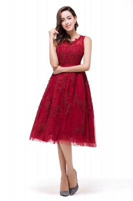 A-Line Knee-Length Red Lace Tull Prom Dresses with sequins_6