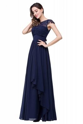 Cheap A-line Ruffles Ribbon Bow Capped Lace Chiffon Bridesmaid Dress in Stock_11