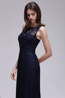 Simple Dark Navy Lace Bridesmaid Dresses Sleeveless Sheath Long Prom Dresses_1
