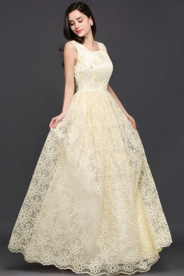 A-line Scoop Floor Length Evening Dress With Lace_5
