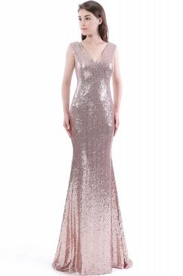 Mermaid Floor Length V-Neck Long Sequins Prom Dresses_1