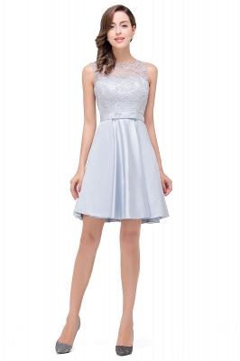 A-Line Knee Length Sleeveless Lace Short Prom Dresses_1