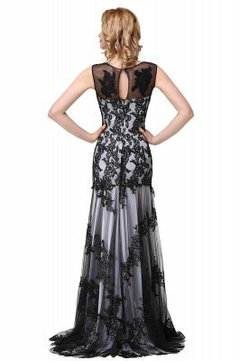 DANIELA | Scoop Neck lace Applique Mermaid Black Prom dresses_7