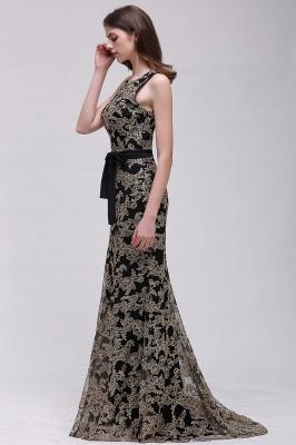 Sheath Round Neck Floor-Length Lace Evening Dresses_5