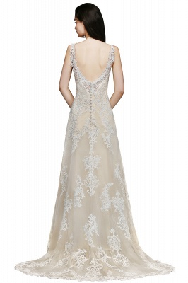 A-line V-Neck Sweep Train Champagne Prom Dresses with Buttons_3