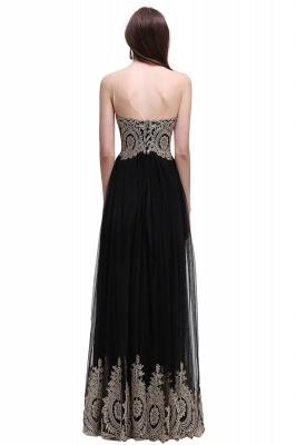 Black Tulle Long A-line Prom Dress with Appliques In Stock_6