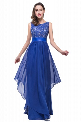 ADDISON | Affordable A-line Floor-length Chiffon Evening Dress with Lace_10