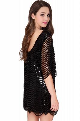 Cheap Black Champagne Sheath Long Sleeve Short Cocktailk Dress in Stock_4