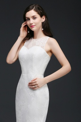 Mermaid Sweep Train Lace New Arrival Wedding Dresses with Buttons_8