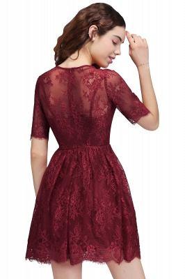 Cheap A-Line Round Neck Short Lace Burgundy Homecoming Dress in Stock_3