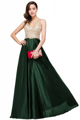 Cheap V-neck Satin Floor-Length A-Line Appliques Backless Prom Dress in Stock_5