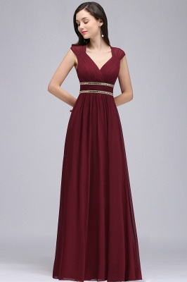Cheap Vintage Burgundy Cap Sleeve Chiffon Long Evening Dress in Stock_10