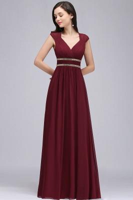 Vintage Burgundy Cap Sleeve Chiffon Long Evening Dress_9