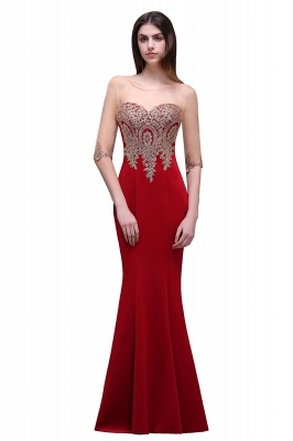 BELLA | Sheath Round Neck Floor-Length Burgundy Prom Dresses With Applique_6
