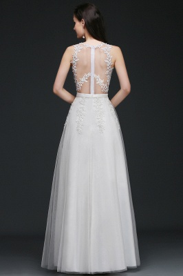 AMARI | A-Line Jewel Floor Length Tulle Wedding Dresses with Lace_4