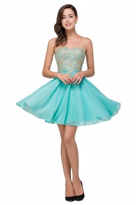 A-line Sleeveless Short Chiffon Prom Dresses with Appliques_1