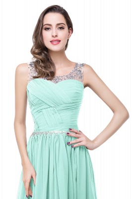A-line Court Train Chiffon Cheap Party Dress With  Beading_12